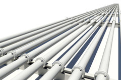 Many pipes stretching into distance. Isolated Stock Photo