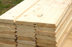 Many planed planks close-up Royalty Free Stock Images