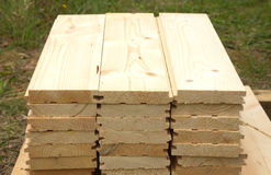 Many planed planks close-up Royalty Free Stock Photos