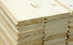 Many planed planks close up Stock Photos