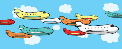 Many planes flying together Stock Photography