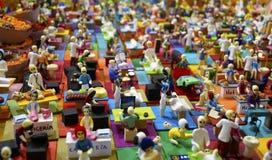 Many plaster skeleton miniatures of works Royalty Free Stock Image