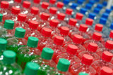 Many plastic bottles with water in a shop Royalty Free Stock Photography