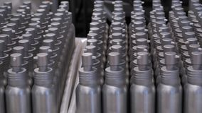 Many plastic or metal bottles in container stock footage