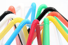 Many plastic straws Stock Photo