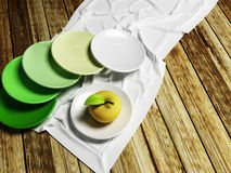 Many plates and an apple. 3D rendering Stock Images