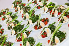 Many plates of vegetable salad Royalty Free Stock Images