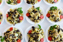 Many plates of vegetable salad Royalty Free Stock Image