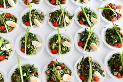 Many plates of vegetable salad Royalty Free Stock Photo