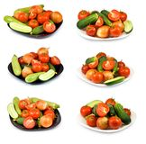 Many plates with vegetables Royalty Free Stock Photos