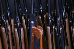 Many pneumatic air rifle on training Royalty Free Stock Photo