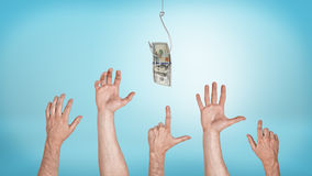 Many pointing, grabbing, greeting male hands aiming for a dollar bill caught on a hook. Everyone likes money. Best offer sale. Financial motivation Royalty Free Stock Image