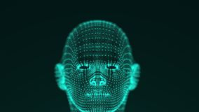 Many points and thin threads form a bright futuristic shape of the head of a person or a robot on black background