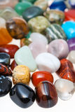 Many polished natural mineral gemstones close up Royalty Free Stock Photography