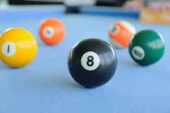 Many pool-balls on woolen fabric Royalty Free Stock Photo