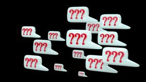 Many pop up Question. Animation pop up  many Question, brown  background, with alpha chanel stock footage