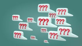 Many pop up Question. Animation pop up  many Question, green background stock video footage