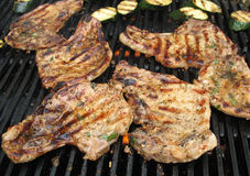 Many pork chops on bbq. Marinated pork chops on an outdoor grill, bbq Royalty Free Stock Photo