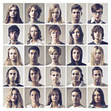 Many Portraits. Of different girls, boy and women Stock Photo
