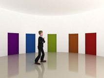 Many possibilities. An executive that has to make his mind on which door to go trough stock illustration