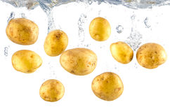 Many potatoes fall into water Royalty Free Stock Images