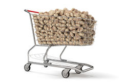 Many potatoes in a shopping cart on th white background. 3d rendering Stock Image