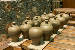 Many pots kept for drying in the sun Royalty Free Stock Image