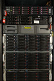 Many powerful servers running in the data center server room. Server rack cluster in a data center Royalty Free Stock Photography