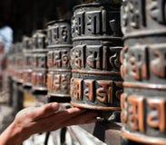 Many prayer wheels Stock Photo