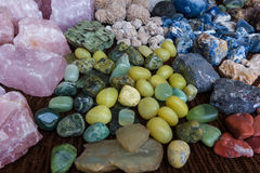 Many precious stones on the table Royalty Free Stock Images
