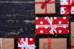 Many presents with copy space for text Royalty Free Stock Photography