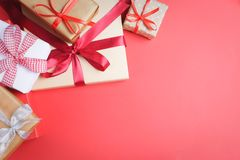 Many presents on red background royalty free stock images