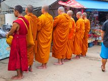 Monk. Many priests are taking alms in the morning stock photos