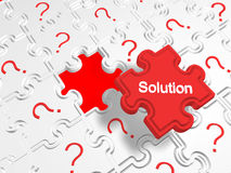 Many problems but one solution. The  solution key of many problems Stock Photo