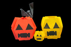 Many pumpkins and bat Royalty Free Stock Image