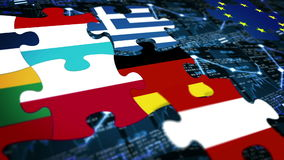 Many puzzle composition europe national flag on financial chart background. Crisis of eurozone stock footage
