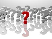 Many question marks, one red, 3D rendering Stock Images