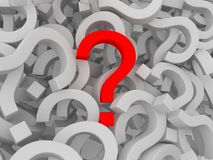 Many question marks - one is red Stock Image