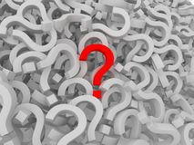 Many question marks - one is red Stock Photography