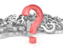 Many question marks - one is red Stock Images