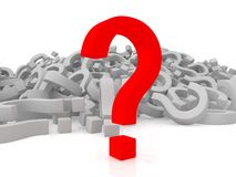 Many question marks - one is red Royalty Free Stock Photography