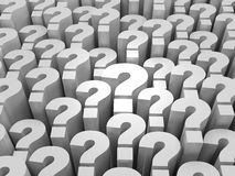 Many Questions. 3d render illustration of question mark blocks Stock Image
