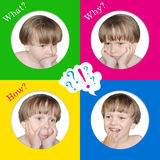 So many questions in children. 4 emotions of a child. So many questions in children Royalty Free Stock Photo