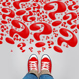 So Many Questions on Young Person Path. To Growing Up with Red Sneakers from Above, Top View Stock Image
