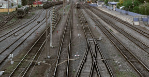 Many railroad track, aerial view of railroad station platform Stock Image
