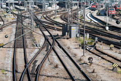 Many rails. A signal box with many rails and trains Stock Photo