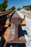 Many rails for a railroad track installation Stock Photos