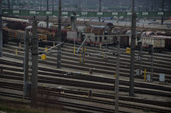Many rails. At the train station in vienna Royalty Free Stock Images
