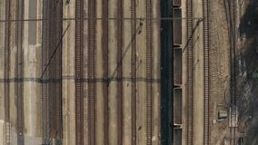 Industrial railway tracks. Many railway tracks industrial aerial drone view stock footage
