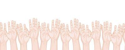 Many raised hands horizontal seamless pattern Royalty Free Stock Photo